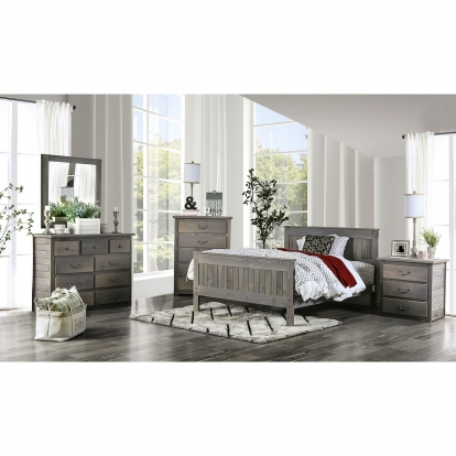 Furniture Of America Rockwall Weathered Gray Rustic 4 Piece Twin Bedroom Set SKU AM7973T-4PC