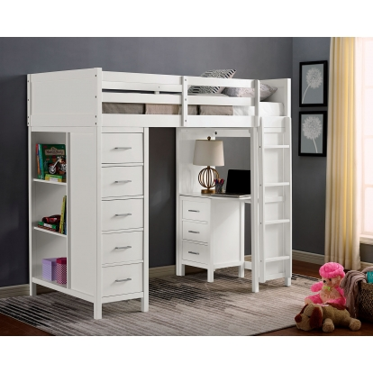 Furniture Of America Cassidy White Transitional Twin Loft Bed With Drawers SKU CM-BK970-BED