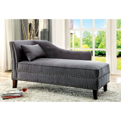 Furniture Of America Stillwater Gray Transitional Chaise SKU CM-CE2185GY