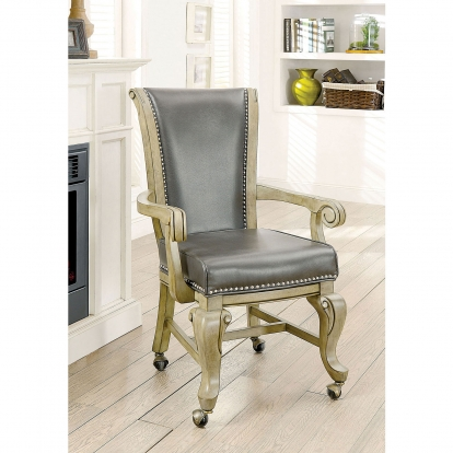 Furniture Of America Melina Gray Transitional Arm Chair SKU CM-GM367GY-AC-2PK