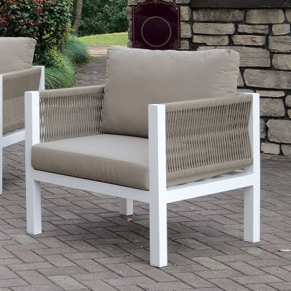 Furniture Of America Sasha White | Light Taupe Contemporary Arm Chair With Cushion SKU CM-OS2138-CH