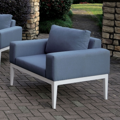 Furniture Of America Sharon White | Blue Contemporary Arm Chair With Cushion SKU CM-OS2139-CH