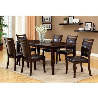 Furniture Of America Woodside Dark Cherry   Espresso Transitional 6 Piece Dining Table Set With Bench SKU CM3024T-6PC