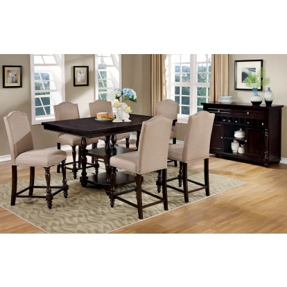 Furniture Of America Hurdsfield Antique Cherry Transitional 7 Piece Counter Height Table Set SKU CM3133PT-7PC