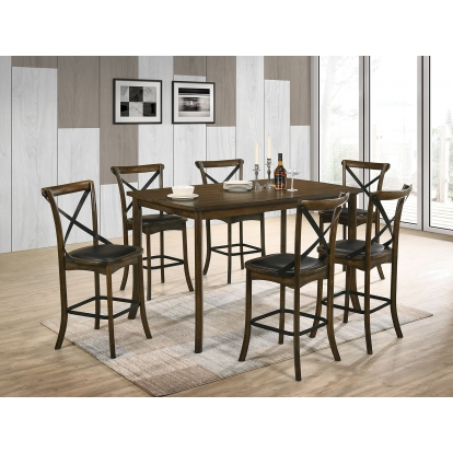 Furniture Of America Buhl I Burnished Oak Industrial 7 Piece Counter Height Dining Table Set SKU CM3148PT-7PC