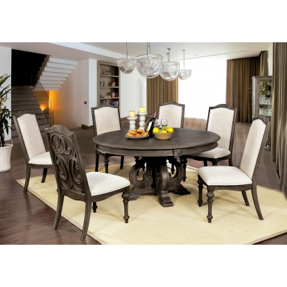 Furniture Of America Arcadia Rustic Natural Tone   Ivory Rustic 5 Piece Round Dining Table Set SKU CM3150RT-5PC