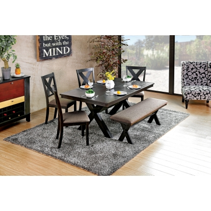 Furniture Of America Xanthe Brushed Black   Warm Gray Transitional 7 Piece Dining Table Set SKU CM3172T-7PC