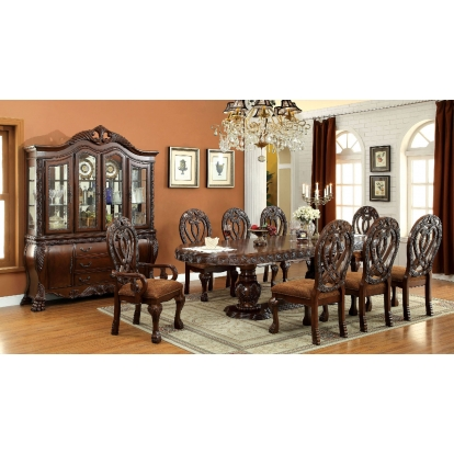 Furniture Of America Wyndmere Cherry Traditional 7 Piece Dining Table Set (2 Arm Chairs And 4 Side Chairs) SKU CM3186CH-T-7PC