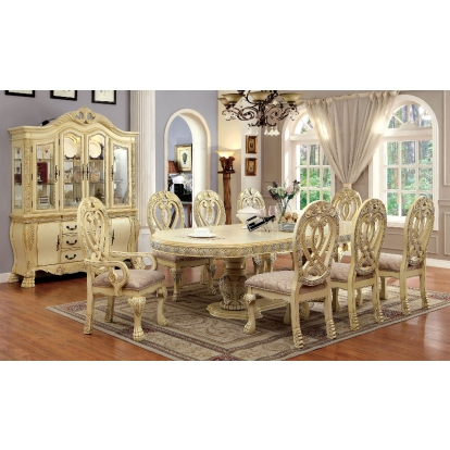Furniture Of America Wyndmere Vintage White Traditional 7 Piece Dining Table Set (2 Arm Chairs And 4 Side Chairs) SKU CM3186WH-T-7PC