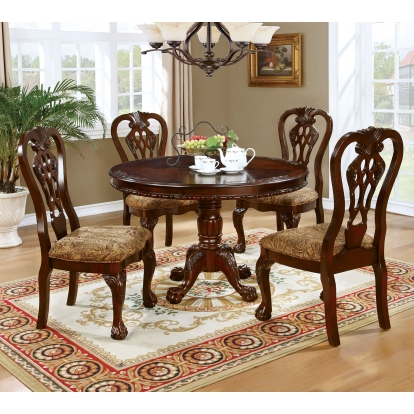 Furniture Of America Elana Brown Cherry Traditional 5 Piece Round Dining Table Set SKU CM3212RT-5PC