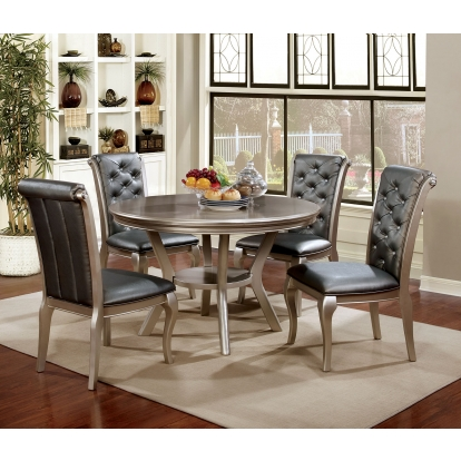 Furniture Of America Amina Champagne Transitional 5 Piece Round Dining Table Set SKU CM3219RT-5PC