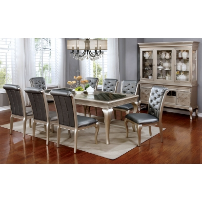 Furniture Of America Amina Champagne Transitional 7 Piece Dining Table Set SKU CM3219T-66-7PC