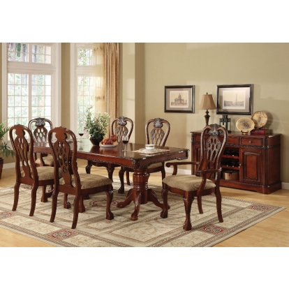 Furniture Of America George Town Cherry Traditional 7 Piece Dining Table Set (2 Arm Chairs And 4 Side Chairs) SKU CM3222T-7PC