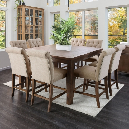 Furniture Of America Sania Iii Rustic Oak Rustic 6 Piece Counter Height Dining Table Set With Bench SKU CM3324A-PT-54-6PC