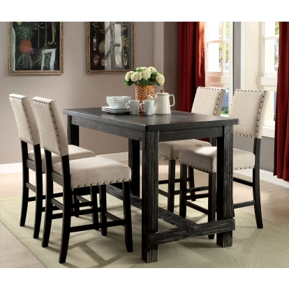 Furniture Of America Sania Ii Antique Black Rustic 4 Piece Counter Height Table Set With Bench SKU CM3324BK-PT-4PC