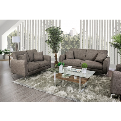 Furniture Of America Lauritz Brown Transitional Sofa With Loveseat SKU CM6088BR-2PC