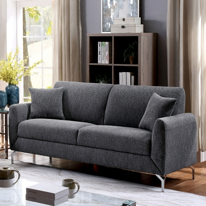 Furniture Of America Lauritz Gray Transitional Sofa With Loveseat SKU CM6088GY-2PC