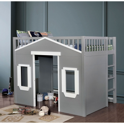 Furniture Of America Eileen Gray | White Transitional Twin Loft Bed SKU CM7132GY-T-BED