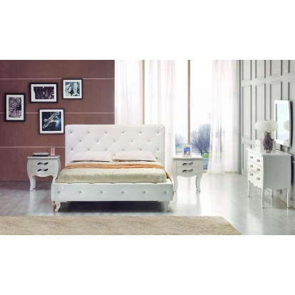 Black Bed Modrest Monte Carlo White Leatherette Modern Twin Bed with Crystals VIG Furniture Model# VGJYMONTECARLO-WHT-TC Item-Number-15886
