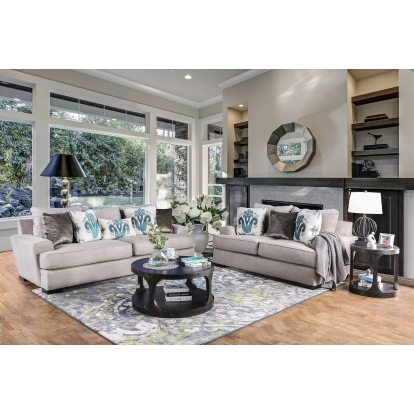 Furniture Of America Renesmee Gray | Silver | Blue Transitional Sofa With Loveseat SKU SM1223-2PC