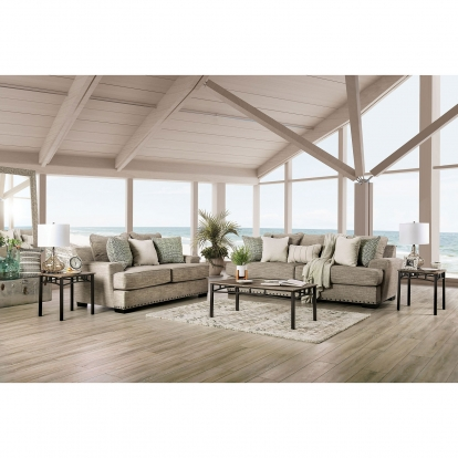 Furniture Of America Maureen Taupe Transitional Sofa With Loveseat SKU SM1229-2PC