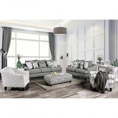 Furniture Of America Verne Bluish Gray Transitional Sofa With Loveseat SKU SM8330-2PC