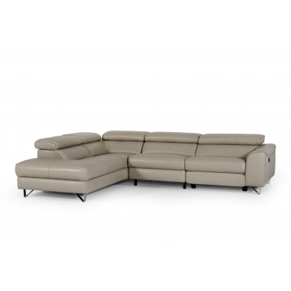Taupe Sectional Sofa Divani Casa Versa Modern Light Taupe Teco-Leather LAF Chaise Sectional w/ Recliner VIG Furniture Model# VGKNE9112-LAF Item-Number-77445