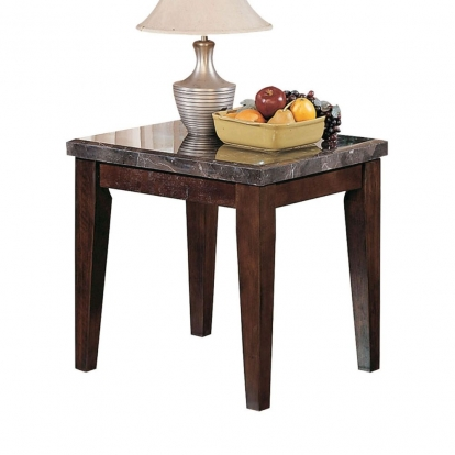 ACME Black Marble & Walnut Danville End Table