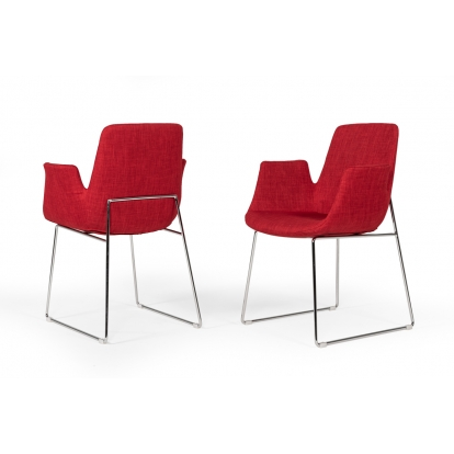 Modrest Altair Modern Red Fabric Dining Chair Vig Furniture Sku Vgobty100-F-Red 16824