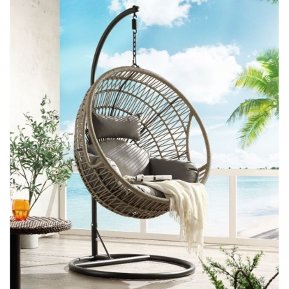 ACME Fabric & Wicker Vinnie Patio Swing Chair With Stand