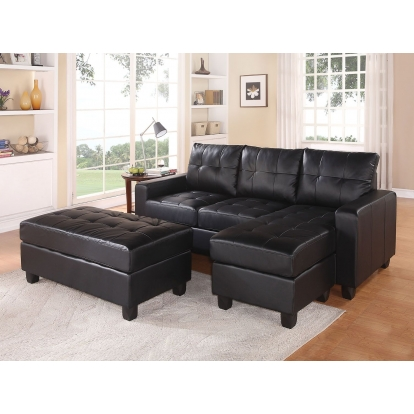 ACME Black Bonded Leather Match Lyssa Sectional Sofa with Ottoman