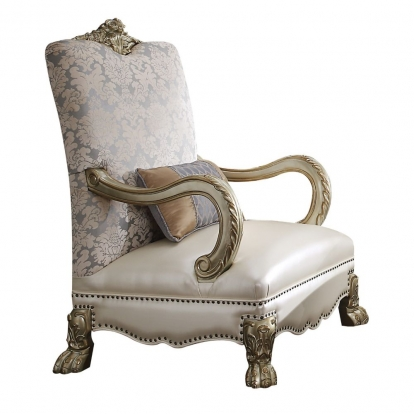 ACME Bone Pu/Fabric & Gold Patina Dresden Ii Accent Chair with 1 Pillow