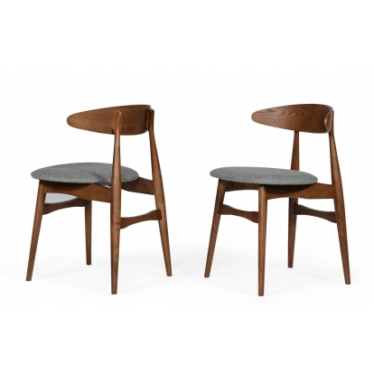 Modrest Prospect Modern Grey Fabric And Walnut Dining Chair (Set Of 2) Vig Furniture Sku Vgmami-446 76632Z