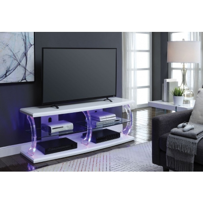 ACME White & Clear Glass Aileen Tv Stand (Led)