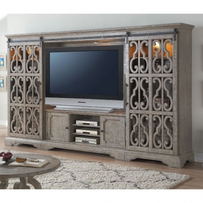 ACME Salvaged Natural Artesia Entertainment Center Set