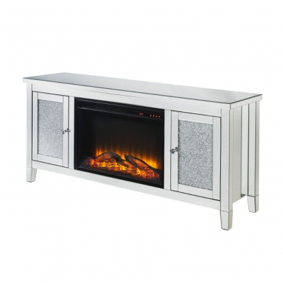 ACME Glam Electric Fireplace (Led) Mirror Glass Mdf Faux Diamonds (Acrylic) Mirrored And Faux Diamonds Noralie Tv Stand with Fireplace (Led)