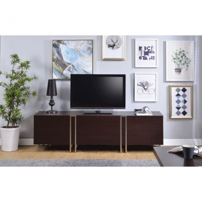 ACME Dark Walnut & Nickel Cattoes Tv Stand