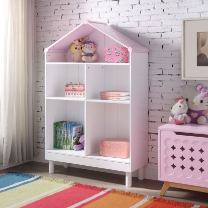 ACME White & Pink Doll Cottage Bookcase