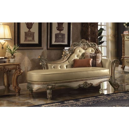 ACME Bone Pu & Gold Patina Vendome Chaise with 2 Pillows