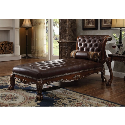 ACME Pu & Cherry Oak Dresden Chaise with 1 Pillow