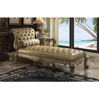 ACME Bone Pu & Gold Patina Dresden Chaise with 1 Pillow