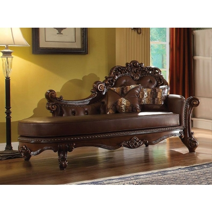 ACME Pu & Cherry Vendome Chaise with 2 Pillows