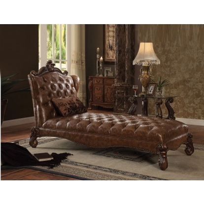 ACME 2 Tone Light Brown Pu & Cherry Oak Versailles Chaise with 1 Pillow