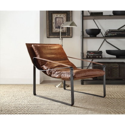 ACME Cocoa Top Grain Leather Quoba Accent Chair