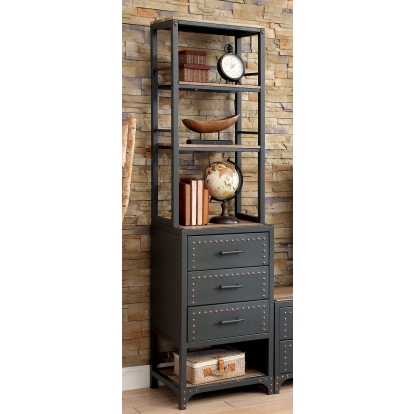 Furniture Of America Galway Gray | Natural Tone Industrial Pier Cabinet SKU CM5904-PC-PK